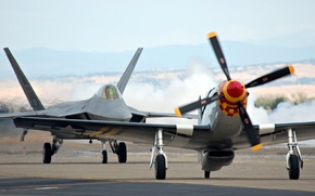 Picture Mustang, fighters, F-22, Raptor, P-51
