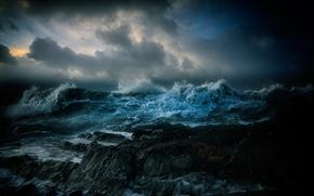 Picture sea, wave, landscape, night