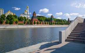 Wallpaper river, Moscow, Russia, promenade, The Moscow river, The Moscow Kremlin, Sofiyskaya embankment