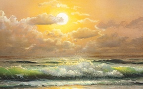 Picture wave, the sky, clouds, painting, sea. the ocean