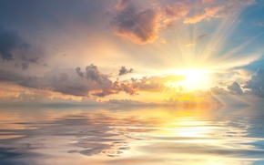 Picture sea, the sky, the sun, clouds, rays, dawn, horizon