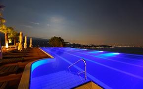 Wallpaper night, pool, pool, night, landscape.