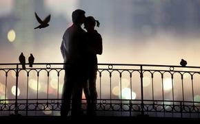 Picture love, bridge, the evening, pair, relationship
