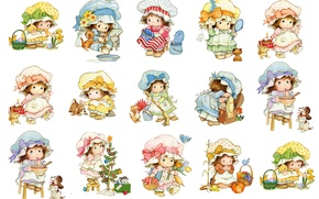 Picture background, texture, art, girl, baby, children's