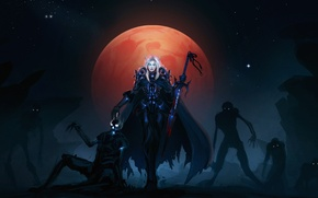 Picture the moon, zombies, knight, wow, undead, death, blood elf, bloody