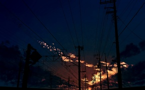 Picture posts, wire, art, the sky, kibunya 39, clouds, sunset