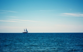 Picture the sky, the ocean, sailboat, boat on the blue ocean