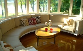 Picture style, interior, house, Villa, windows and skylights at the center of the house, living space, …