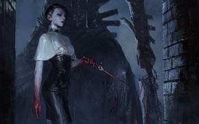 Wallpaper girl, night, Gothic, blood, figure, fantasy, art, knife, dagger, girl, blood, fantasy, night, art, gothic, ...