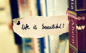 Picture macro, life, the inscription, heart, books, note, wardrobe, the phrase