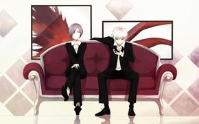 Picture sofa, art, art, tuxedo, admin stupid hamster, Tokyo Ghoul, Ken Kanek, Tokyo Ghoul, Kirishima Bring