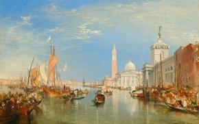 Picture sea, home, picture, boats, Venice, the urban landscape, William Turner, Dogano and Santa Maria della …