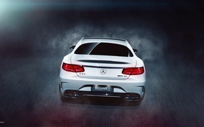Picture Mercedes-Benz, Car, AMG, Coupe, White, Rear, S63