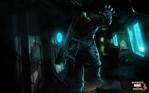 Picture green, light, black, blue, Marvel, ultimate, Nemesis, capcom, bazooka, zumbi