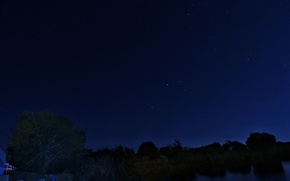 Picture The sky, Nature, Home, Tree, Night, Stars, River, The moon, The village
