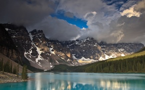 Picture forest, the sky, clouds, mountains, river, Canada, blue water
