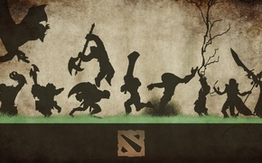 Picture grass, weapons, background, logo, silhouettes, figure, characters, Dota 2