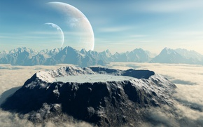 Picture clouds, mountains, planet, crater