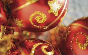 Picture balls, decoration, red, holiday, new year, gold plated, blurry, Christmas decorations, Wallpaper from lolita777