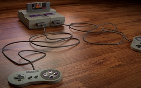 Picture Console, Console, SNES, Joysticks, Cartridge, Joysticks, Cartridge