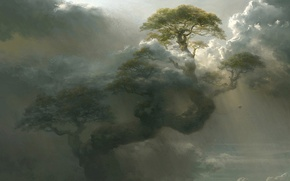 Picture clouds, tree, height, art, giant