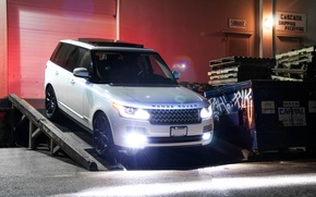Picture white, night, the building, white, front view, range rover, headlights, range Rover, land Rover, supercharged, …