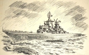 Picture sea, wave, figure, ship, pencil, combat