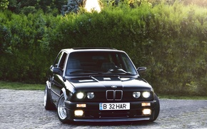 Picture black, BMW, BMW, black, the bushes, Coupe, E30, 3 Series