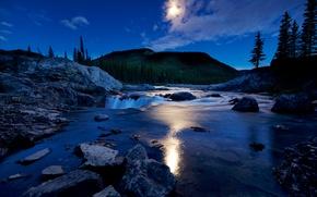 Picture clouds, mountains, night, lake, stones, waterfall, The moon, Canada, Albert, Kananaskis