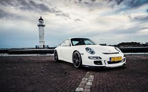 Picture sea, white, the sky, lighthouse, 911, 997, Porsche, white, Porsche, sky, sea, GT3, lighthouse
