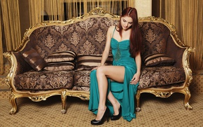 Picture look, girl, shoes, sofa, gold, sweetheart, model, hair, tenderness, body, shoes, pillow, figure, slim, dress, …