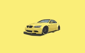 Picture BMW, Car, Yellow, Minimalistic