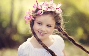 Wallpaper flowers, look, widescreen, children, blur, face, HD wallpapers, Wallpaper, braids, full screen, background, fullscreen, girl, ...