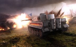 Wallpaper The sky, Tiger, WoT, Fog, World Of Tanks, Flame, Light, Clouds, World of Tanks, Camouflage, ...