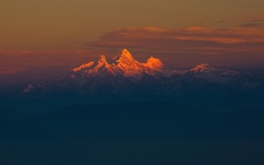 Picture light, morning, mountain range, The Himalayas