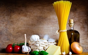 Picture bottle, cheese, still life, tomatoes, garlic, pasta, onion