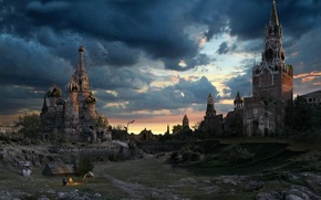 Wallpaper Moscow, the evening, St. Basil's Cathedral, the sky, the Kremlin, Russia, ruins