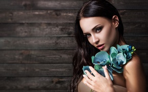 Picture flowers, model, look