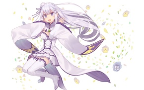 Picture girl, joy, flowers, elf, anime, art, Emilia, Re: Zero kara hajime chip isek or Seikatsu