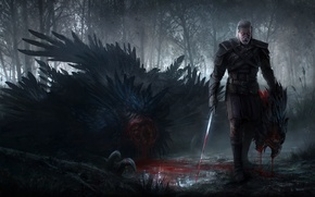 Picture forest, The Witcher 3: Wild Hunt, Geralt, Griffon