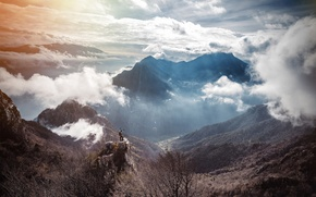 Wallpaper male, mountains, adventure, the sun, valley, clouds