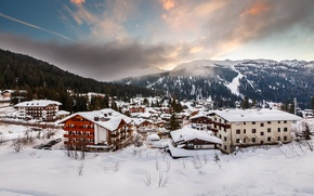 Picture winter, snow, mountains, the city, building, home, Alps, Italy, houses, Italia, Alpi