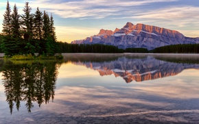 Picture mountains, lake, Banff national Park, Jack Lake, clouds, the sky, Canada, forest