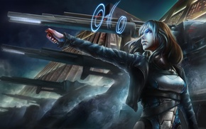 Picture woman, gun, cyberpunk, guns