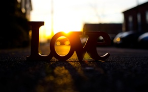 Picture road, the sun, rays, love, sunset, letters, background, Wallpaper, street, mood, love, widescreen, full screen, …