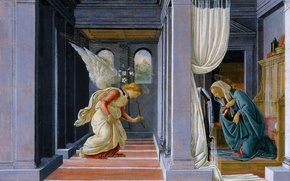 Picture picture, mythology, Sandro Botticelli, The Annunciation