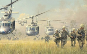 Picture war, figure, soldiers, landing, Bell, Vietnam, cavalry, helicopters, UH-1, Iroquois, Huey, search and destroy