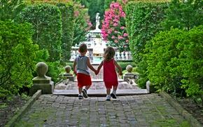 Picture flowers, children, roses, boy, track, girl, Park, statue, shrub, fence