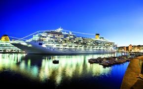 Picture night, port, luxury, The Costa Concordia, cruise ship, five star
