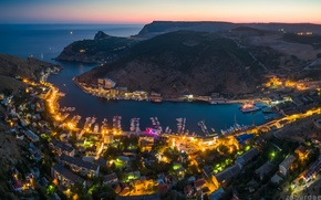 Picture sea, lights, home, The city, Russia, Crimea, Balaclava, Sevastopol